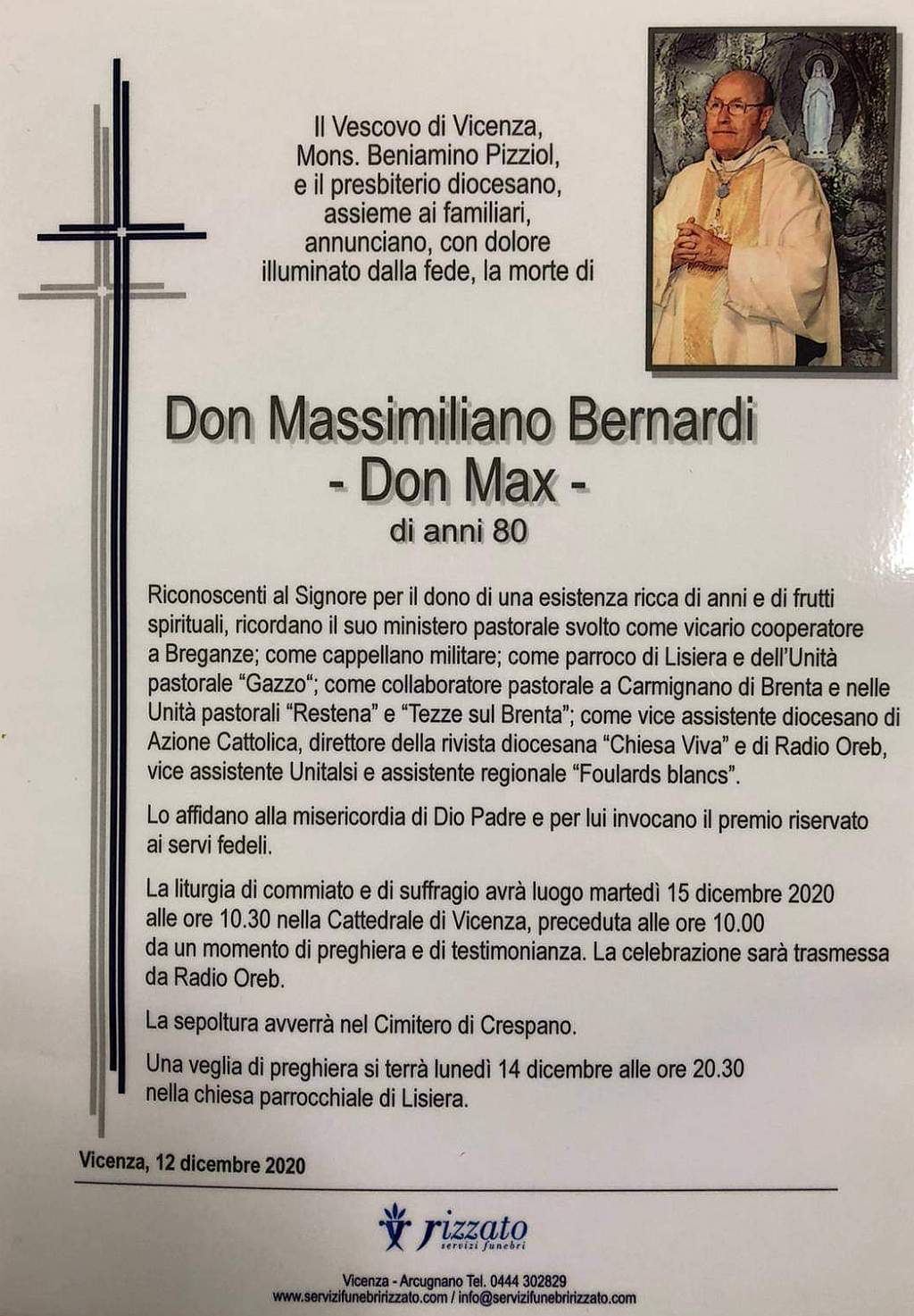 Si è spento 11 dicembre 2020 a Vicenza Don Massimiliano Bernardi (Don Max)